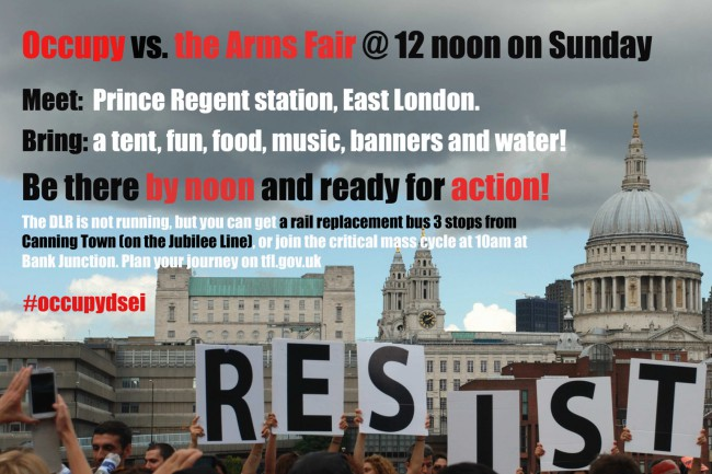 Occupy vs The Arms Fair flyer